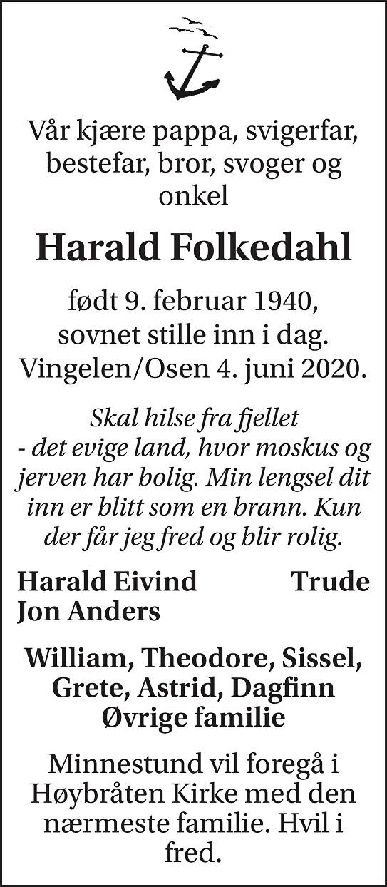 Harald Folkedahl Dødsannonse