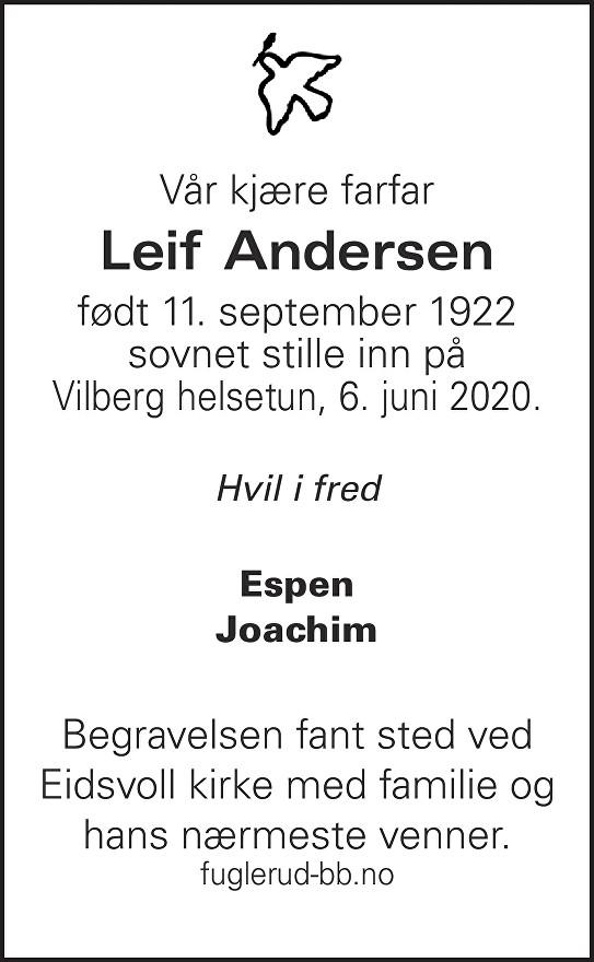 Leif Andersen Dødsannonse