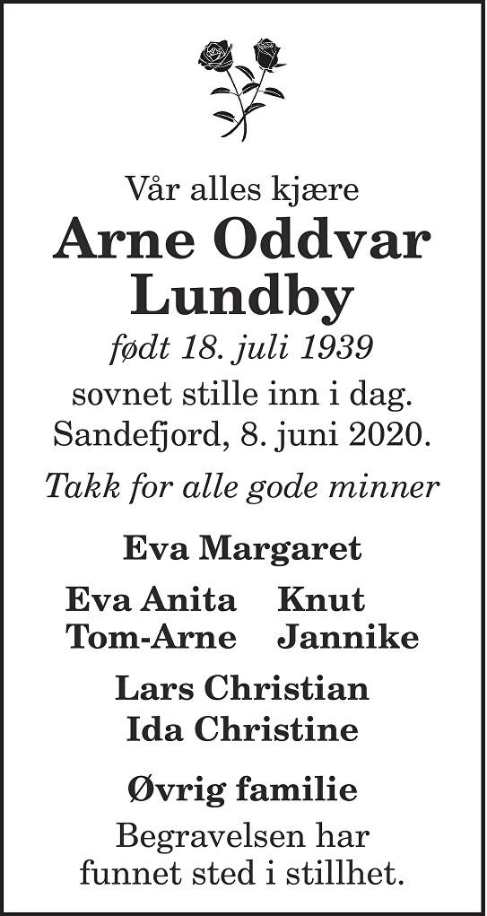 Arne Oddvar Lundby Dødsannonse