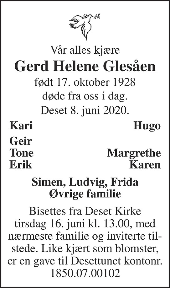 Gerd Helene Glesåen Dødsannonse