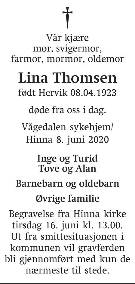 Lina Thomsen Dødsannonse