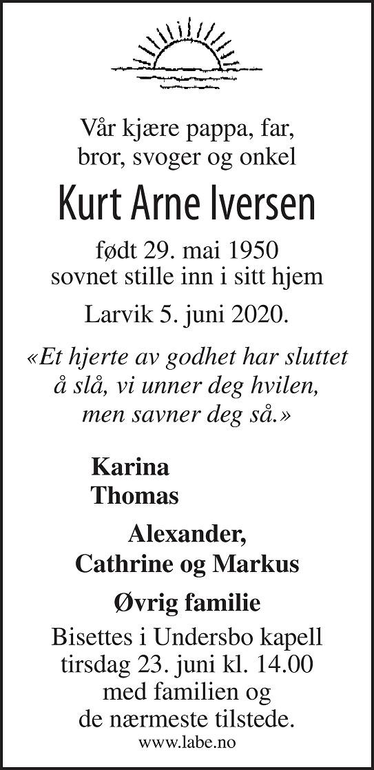 Kurt Arne Iversen Dødsannonse