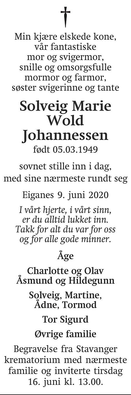 Solveig Marie Wold Johannessen Dødsannonse