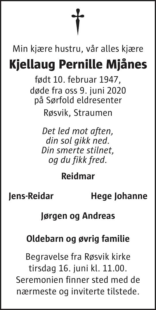 Kjellaug Pernille Mjånes Dødsannonse