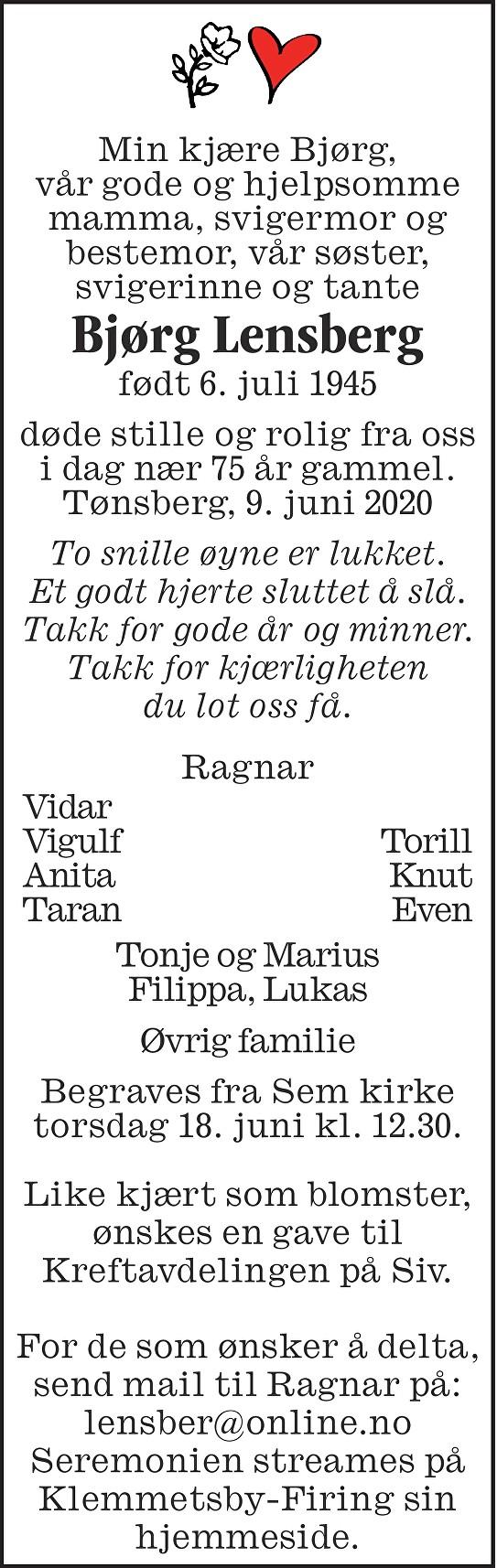 Bjørg Lensberg Dødsannonse