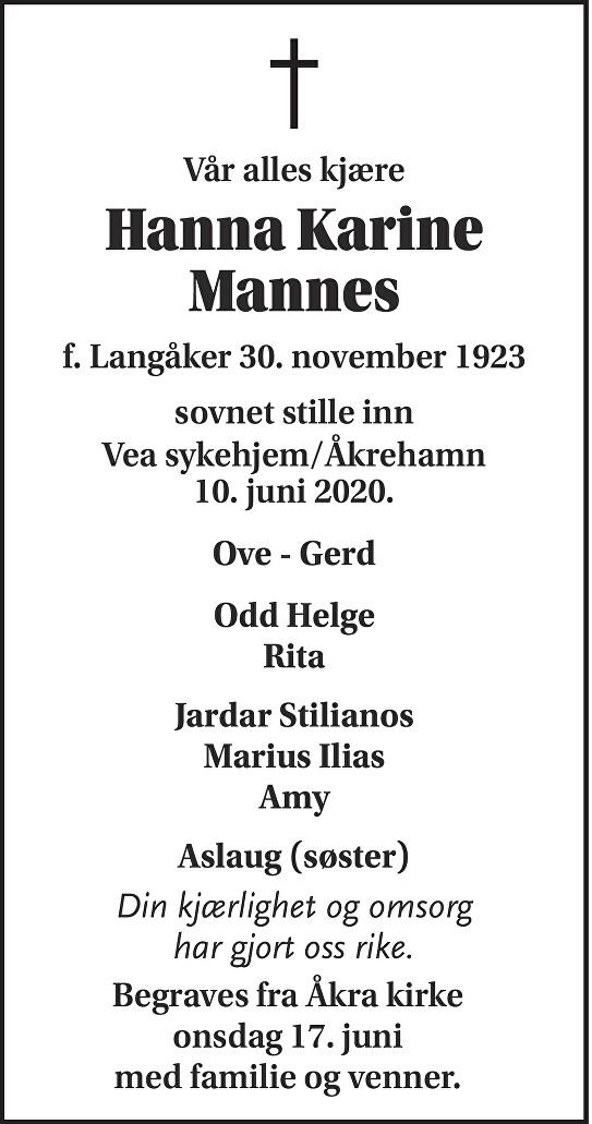 Hanna Karine Mannes Dødsannonse