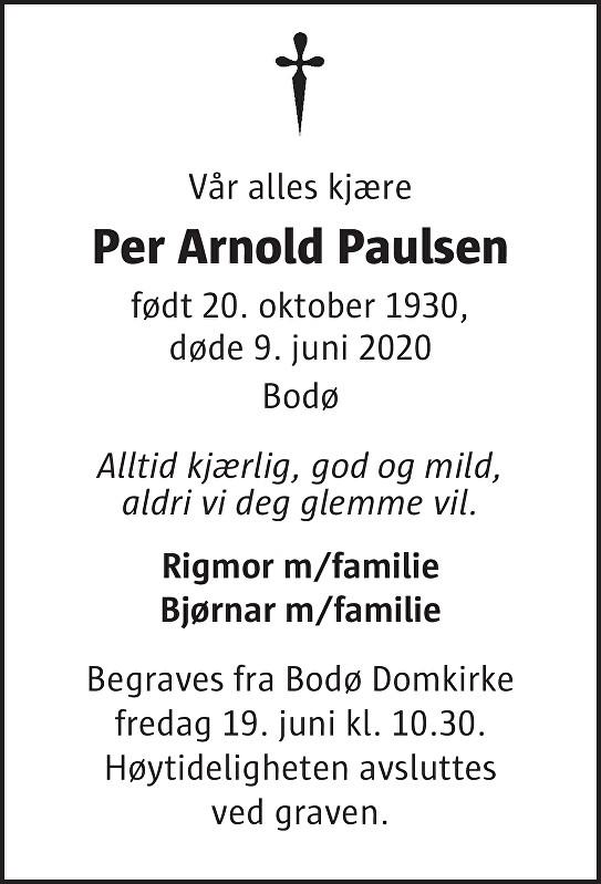 Per Arnold Paulsen Dødsannonse