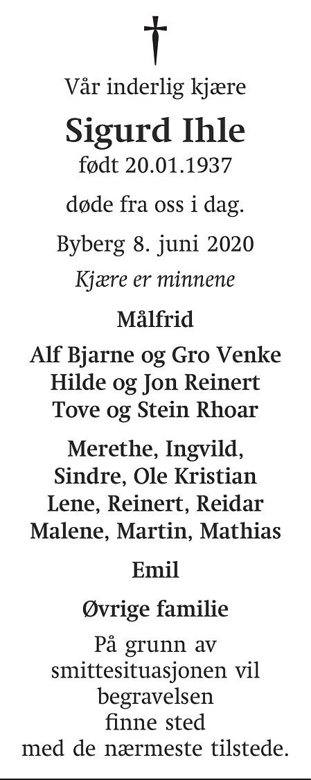 Sigurd Ihle Dødsannonse