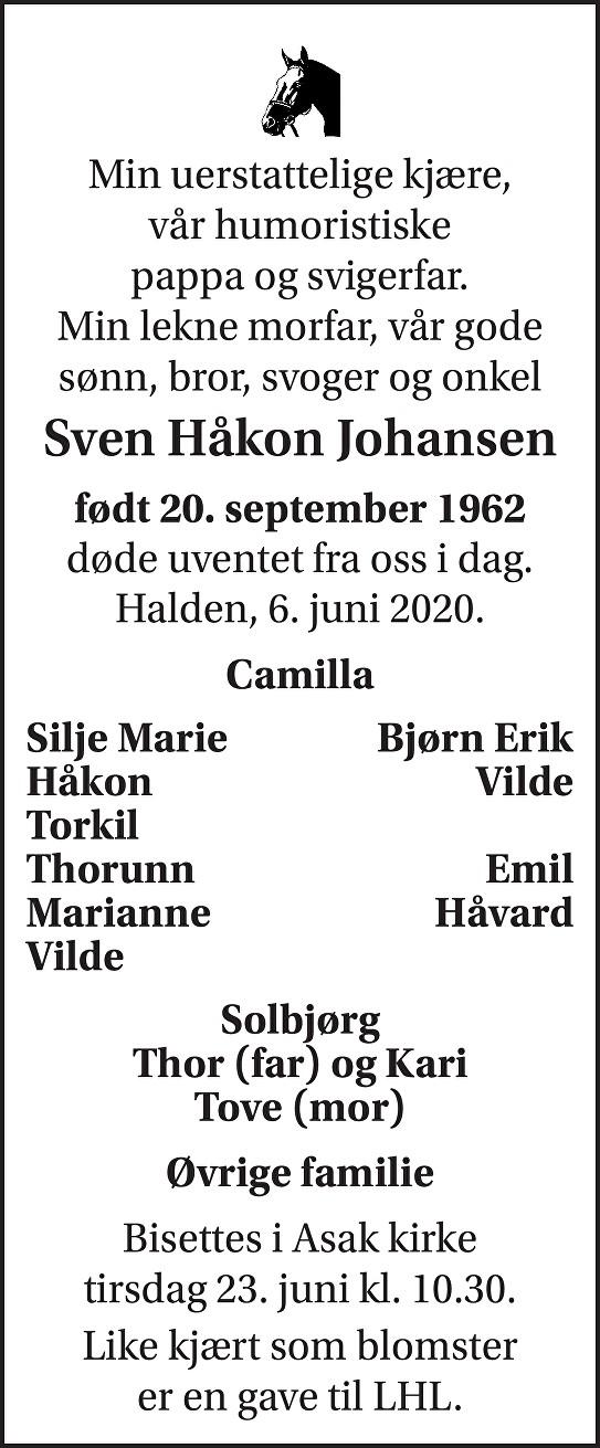 Sven Håkon Johansen Dødsannonse