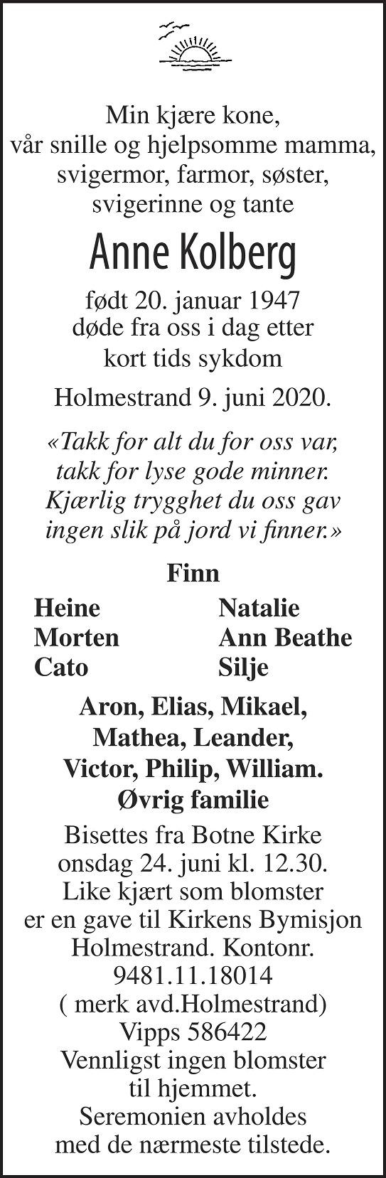 Anne Kolberg Dødsannonse