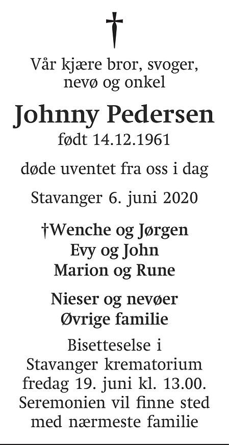 Johnny Pedersen Dødsannonse