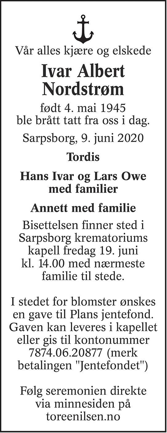 Ivar Albert Nordstrøm Dødsannonse