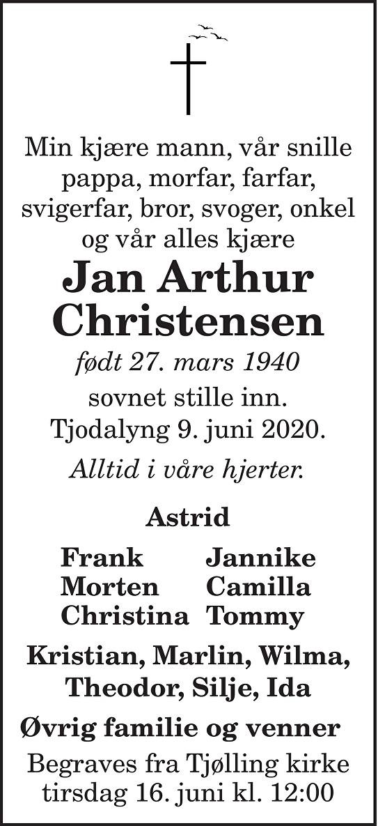 Jan Arthur Christensen Dødsannonse