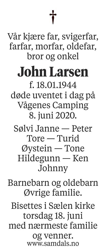 John Larsen Dødsannonse