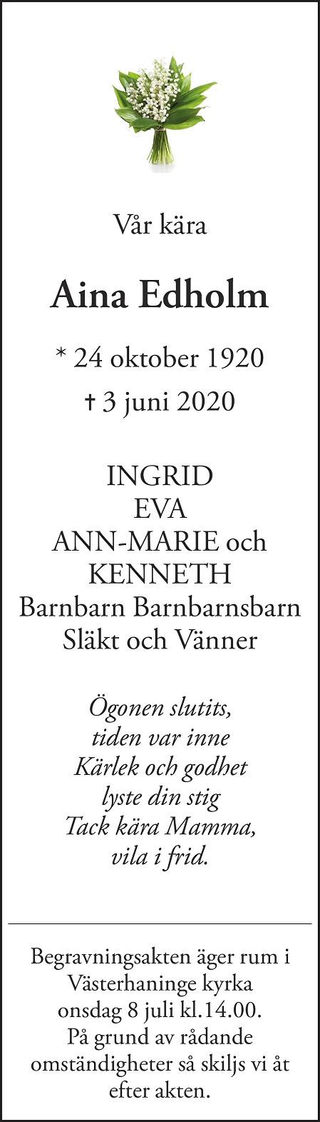 Aina Edholm Death notice