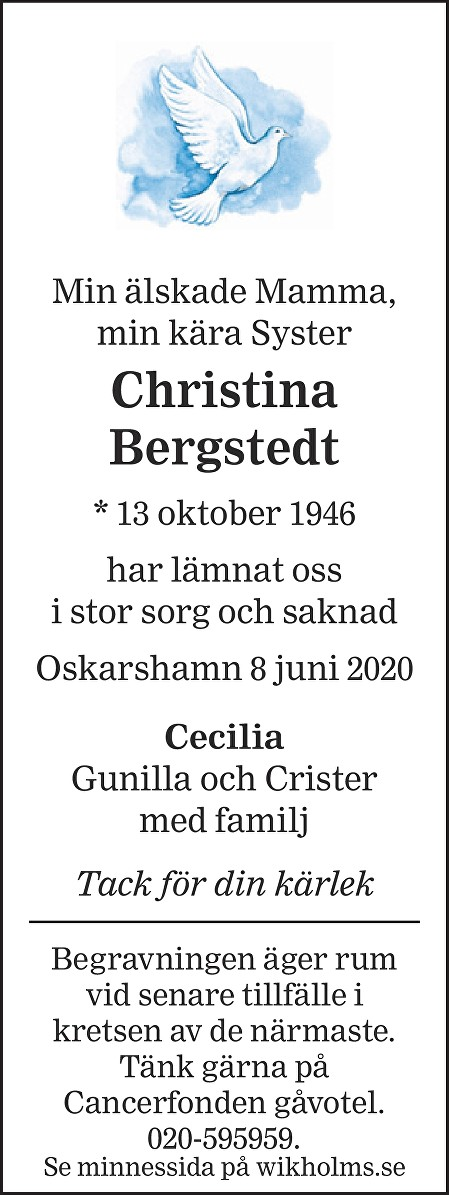 Christina Bergstedt Death notice