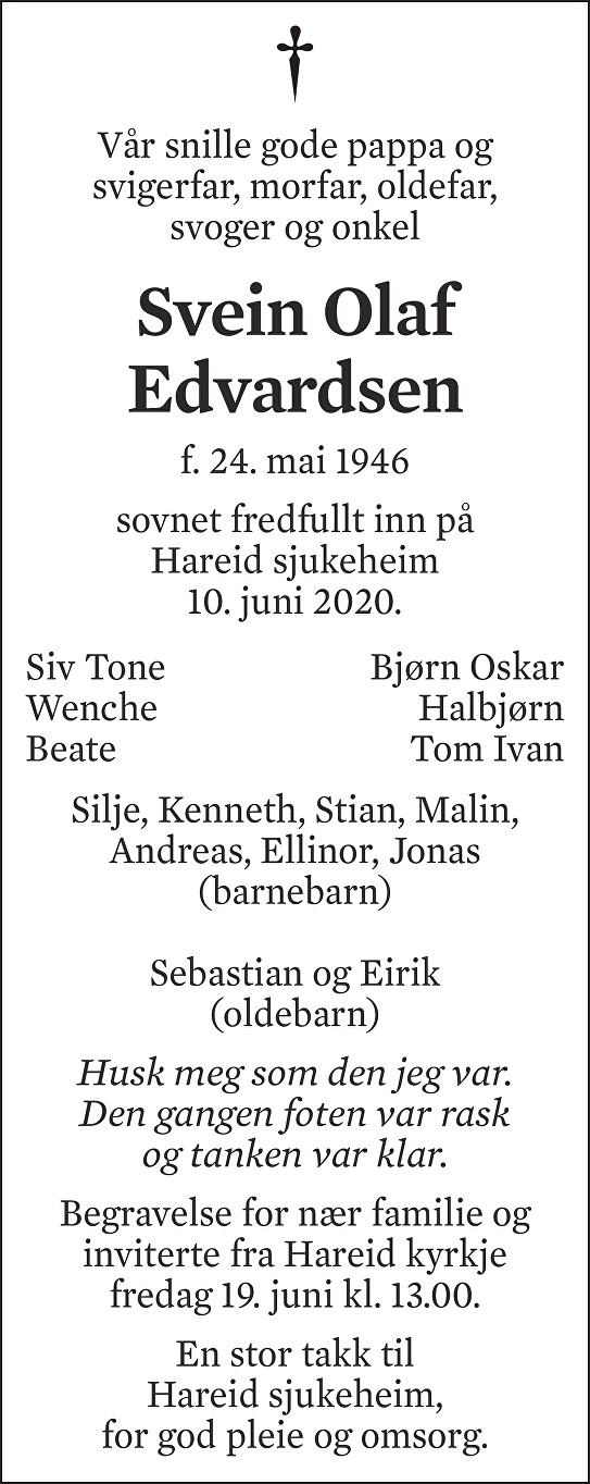 Svein Olaf Edvardsen Dødsannonse