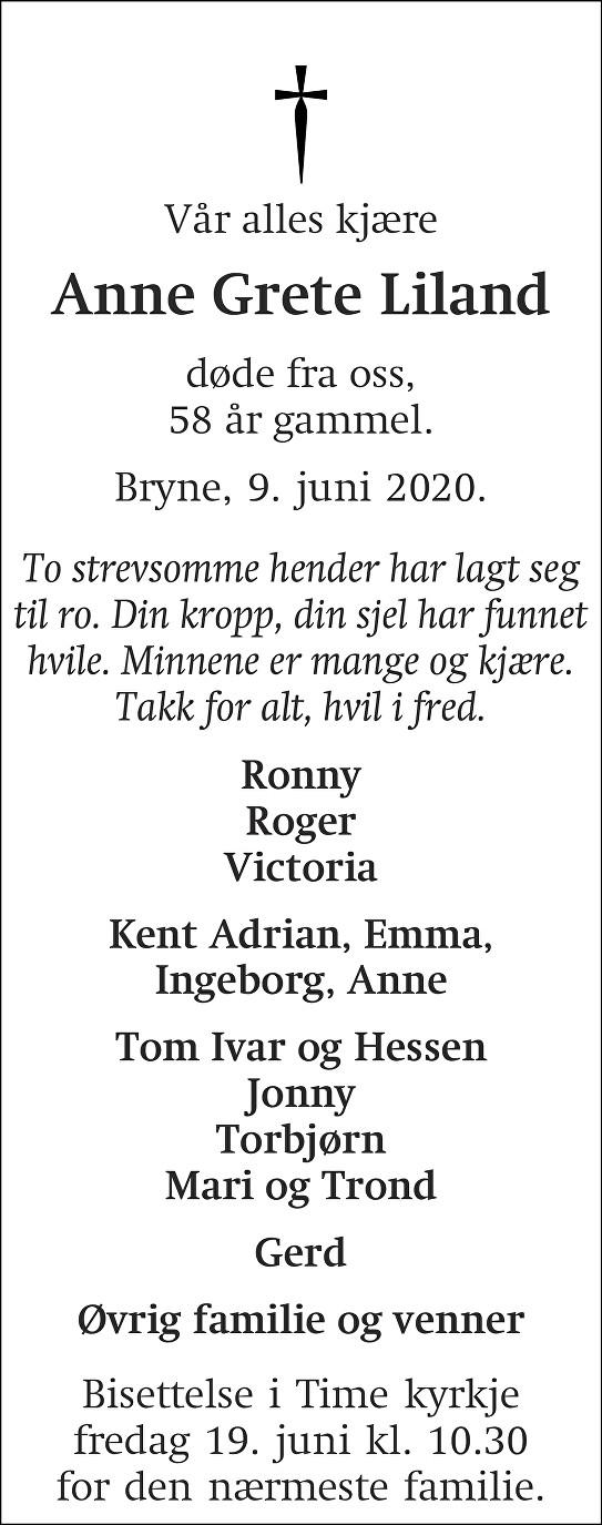Anne Grete Liland Dødsannonse
