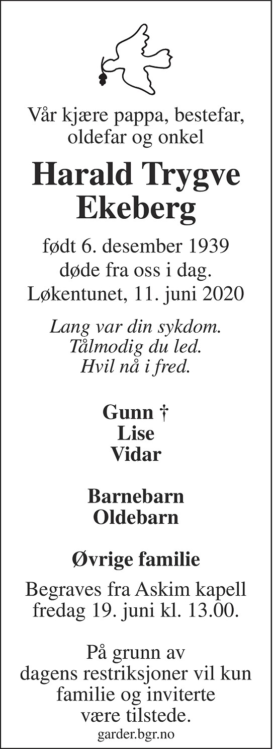 Harald Trygve Ekeberg Dødsannonse