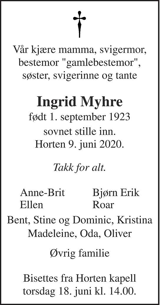 Ingrid Helena Myhre Dødsannonse