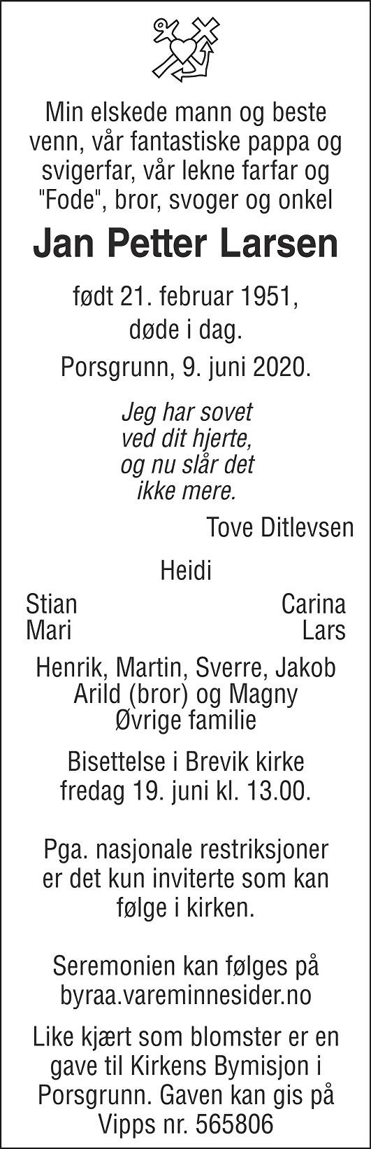 Jan Petter Larsen Dødsannonse