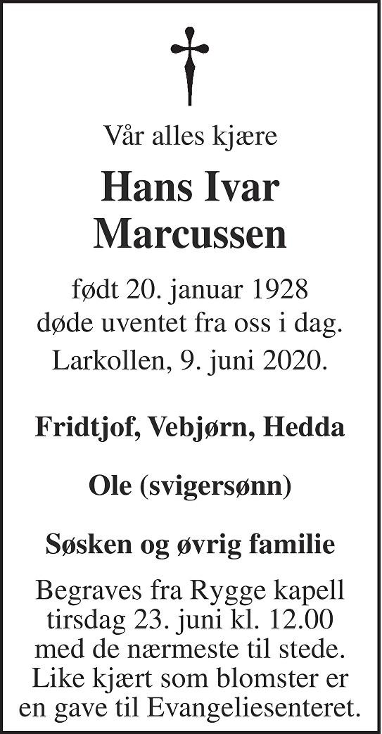 Hans Ivar Marcussen Dødsannonse