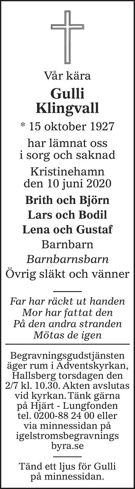 Gulli Klingvall Death notice