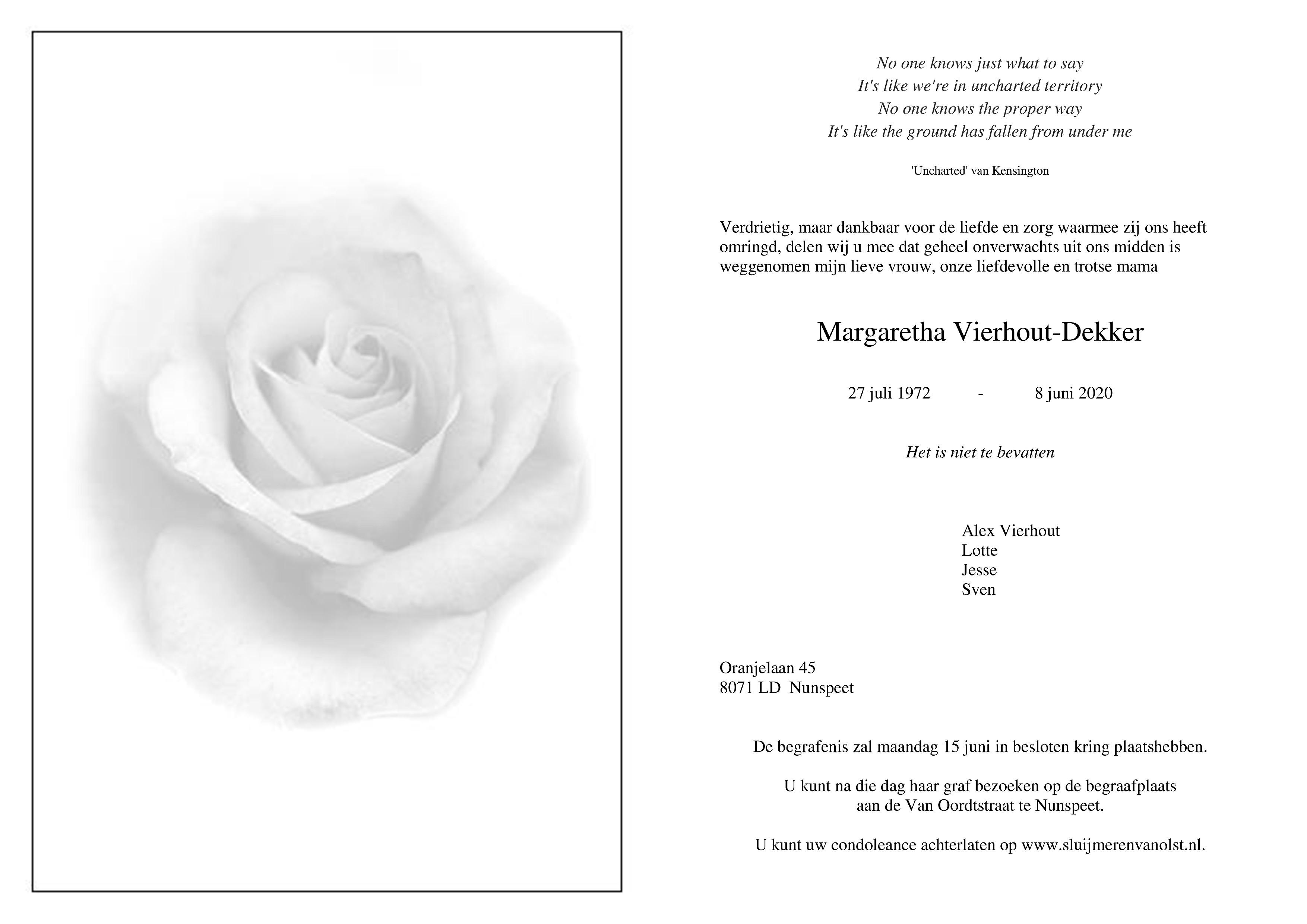 Margret Vierhout-Dekker Death notice
