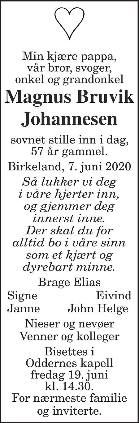 Magnus Bruvik Johannesen Dødsannonse