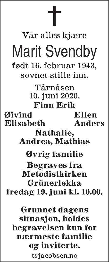 Marit Svendby Dødsannonse
