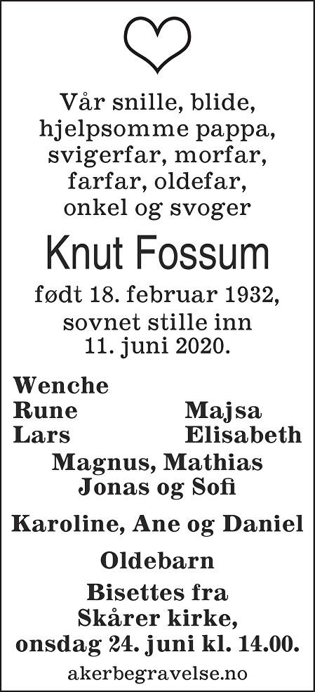 Knut Fossum Dødsannonse