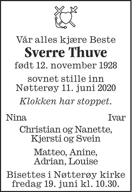 Sverre Thuve Dødsannonse