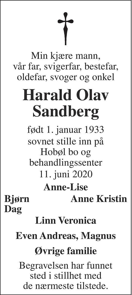 Harald Olav Sandberg Dødsannonse