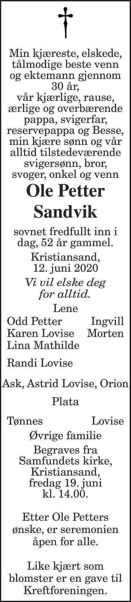 Ole Petter Sandvik Dødsannonse