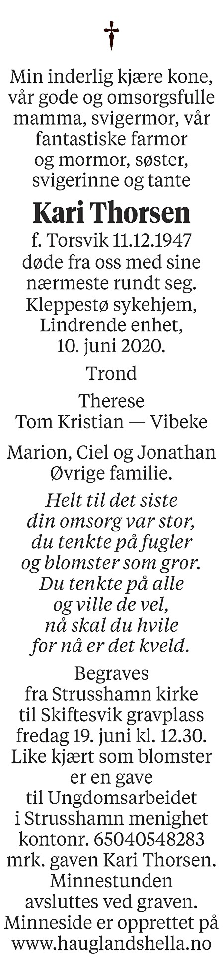 Kari Thorsen Dødsannonse