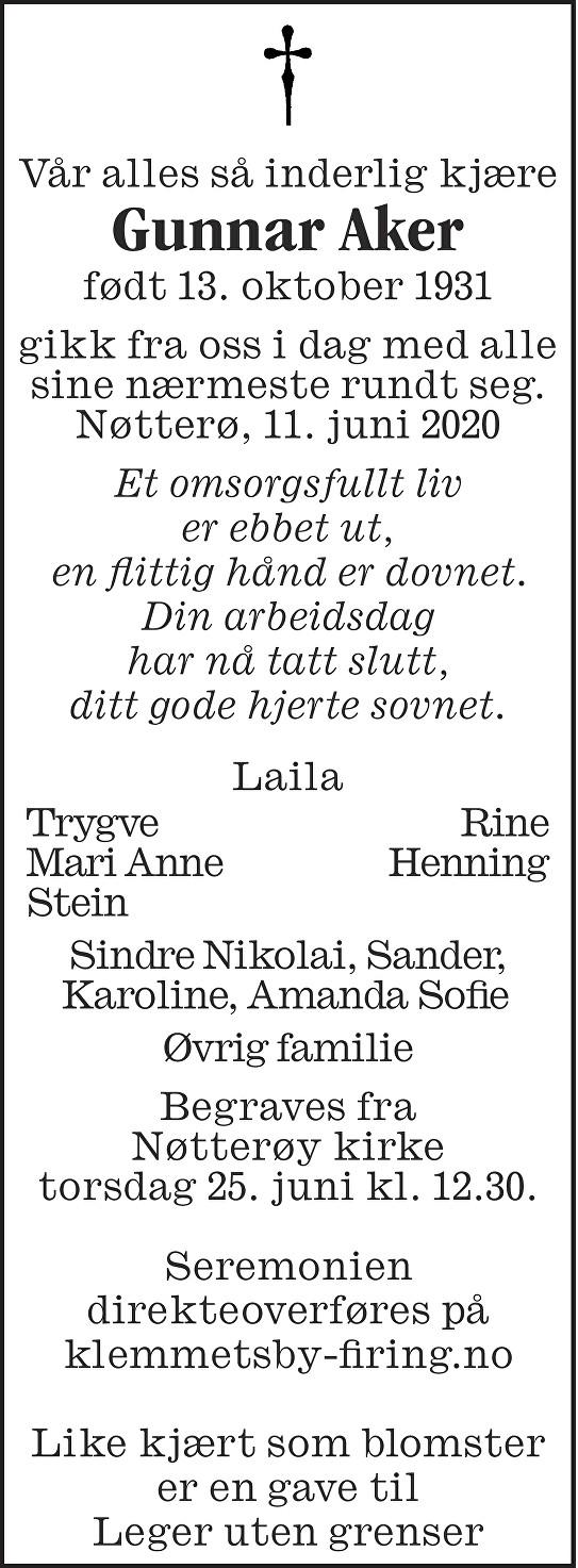 Gunnar Aker Dødsannonse