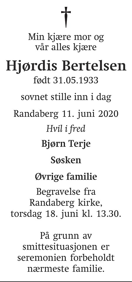 Hjørdis Synnøve Rugland Bertelsen Dødsannonse