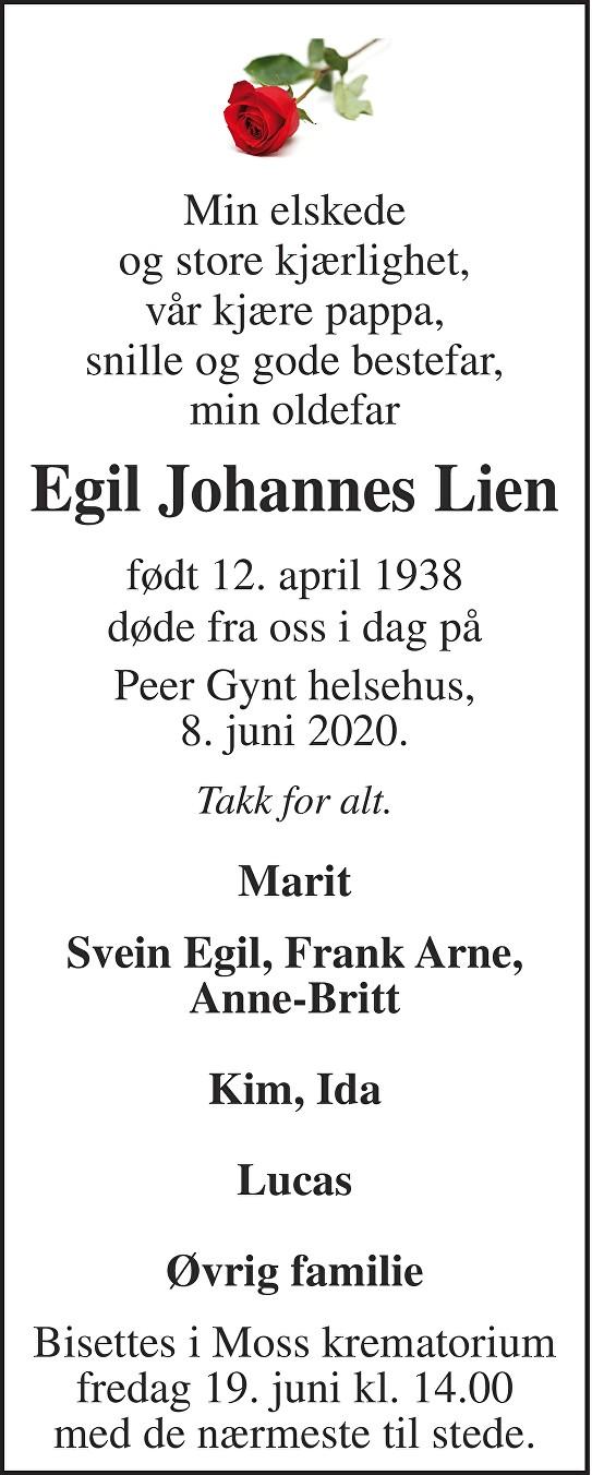 Egil Johannes Lien Dødsannonse