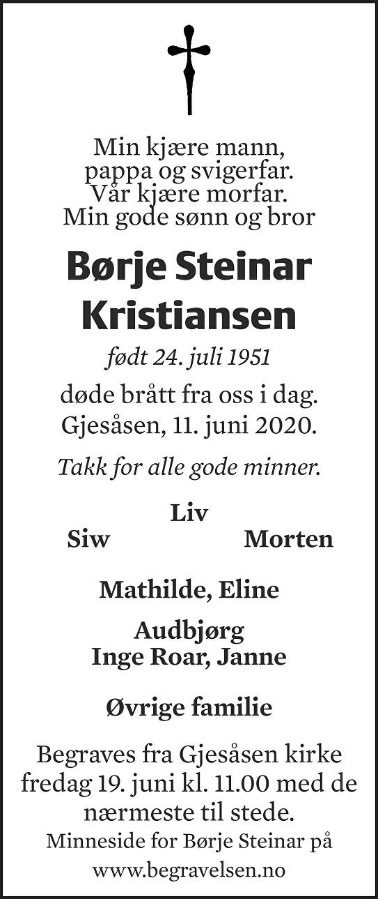 Børje Steinar Kristiansen Dødsannonse