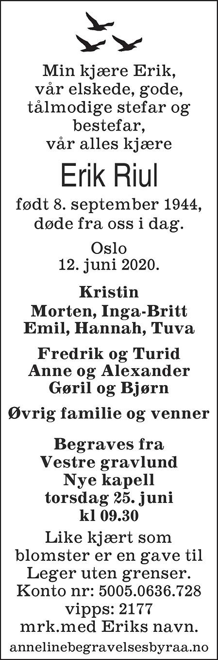 Erik Riul Dødsannonse