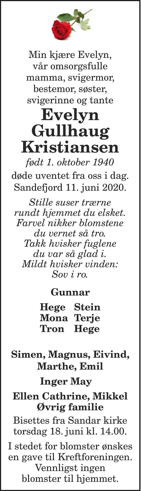 Evelyn Gullhaug Kristiansen Dødsannonse