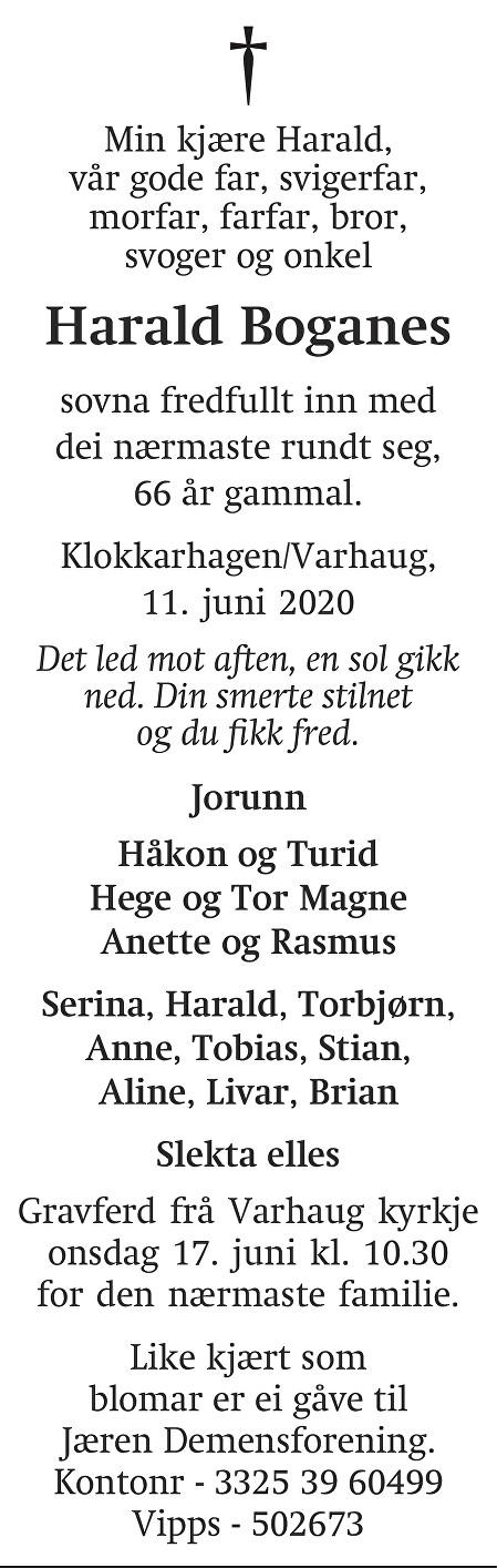 Harald Boganes Dødsannonse