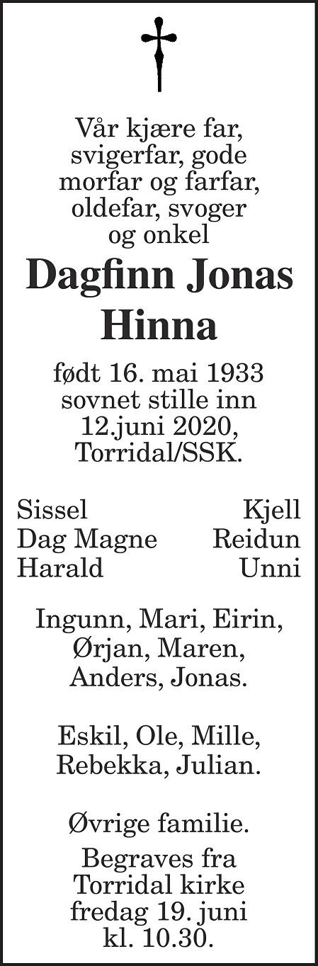 Dagfinn Jonas Hinna Dødsannonse