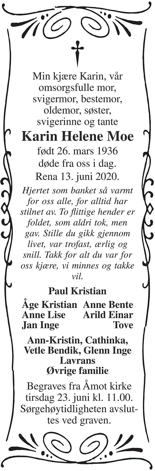 Karin Helene Moe Dødsannonse