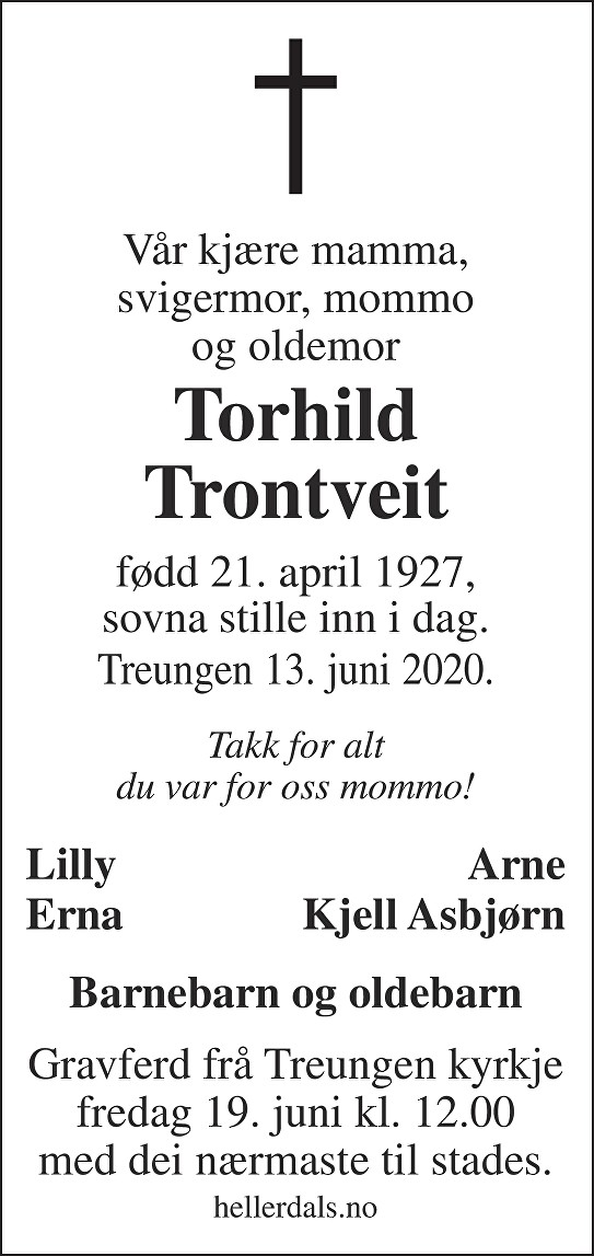 Torhild Trontveit Dødsannonse