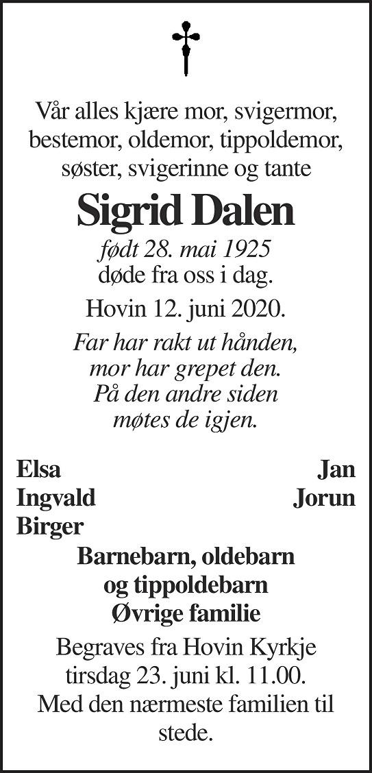 Sigrid Dalen Dødsannonse