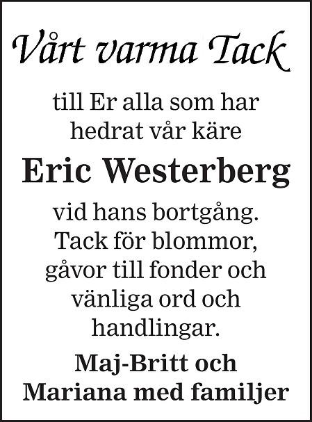 Eric Westerberg Death notice