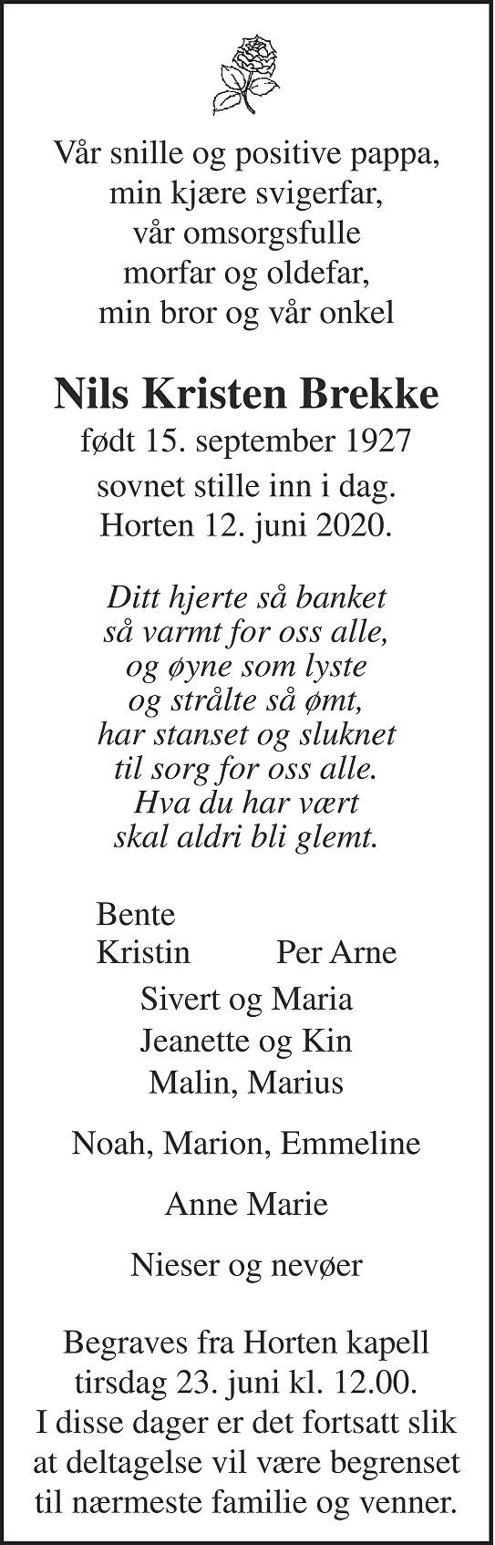 Nils Kristen Brekke Dødsannonse