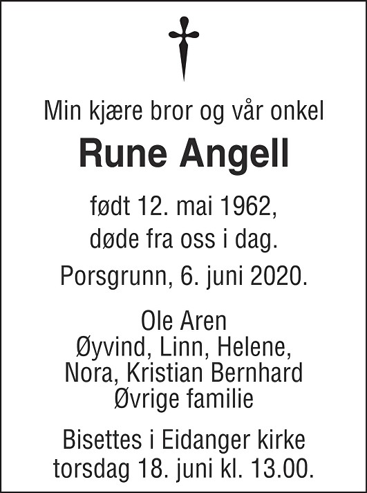 Rune Angell Dødsannonse