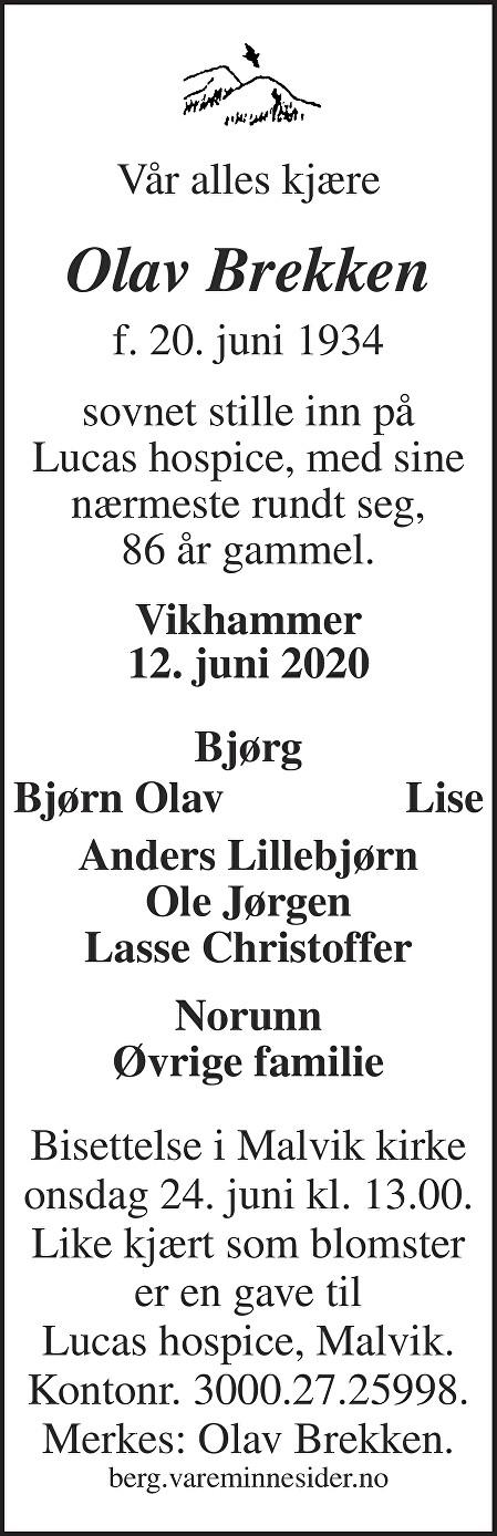 Olav Brekken Dødsannonse